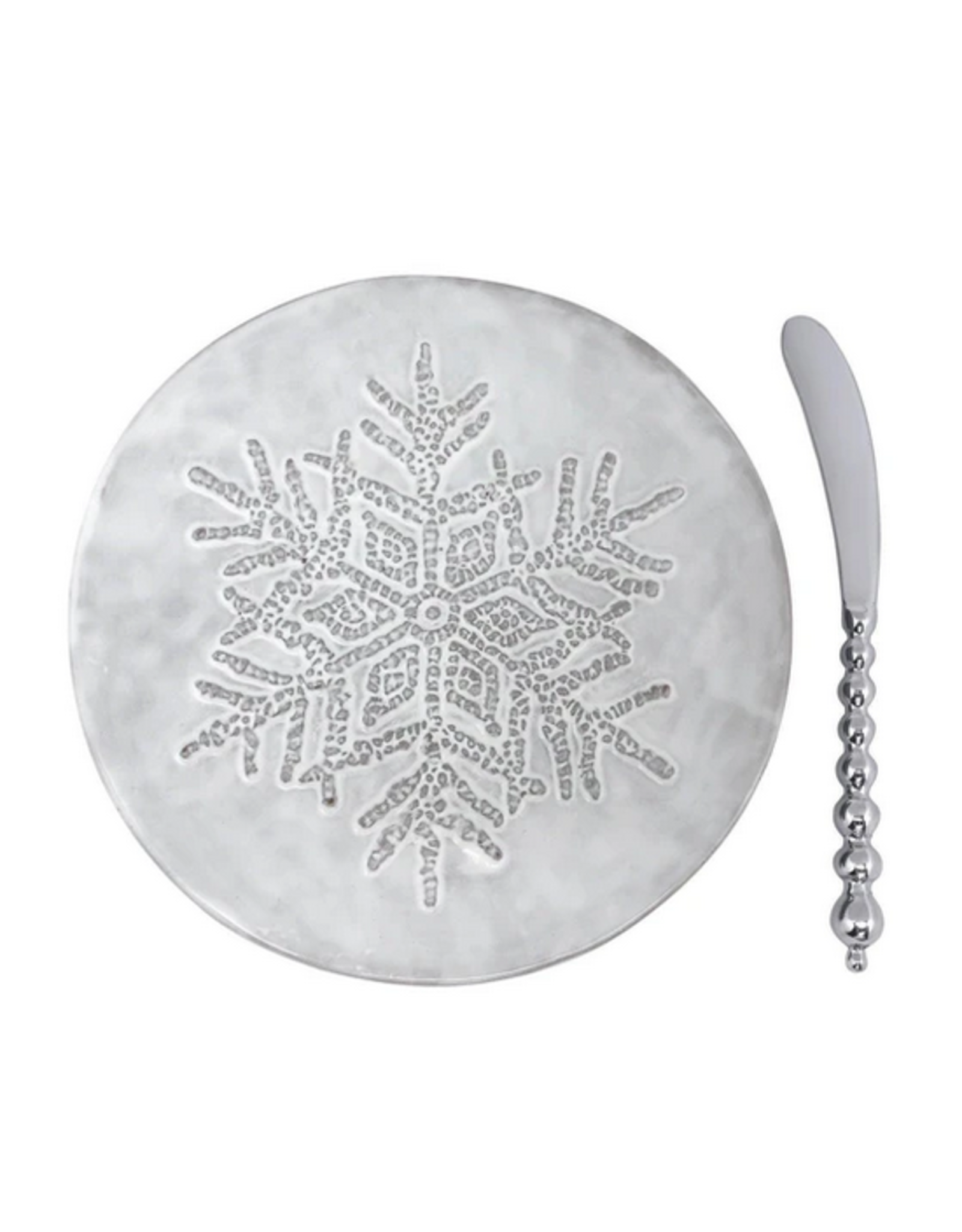 Mariposa Dotty Snowflake Ceramic Canape Plate with Beaded Spreader