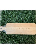 Maple Leaf at Home Longitude and Latitude of Charlestown 20x6 Handled Maple Bread Board