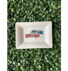 Dishique Car with Tree and Bunker Hill Flag Mini Dish
