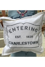 Marshes Fields and Hills Entering Charlestown 20 x 20 Pillow in Hale Navy