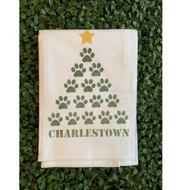 Marshes Fields and Hills Paw Print Tree Tea Towel