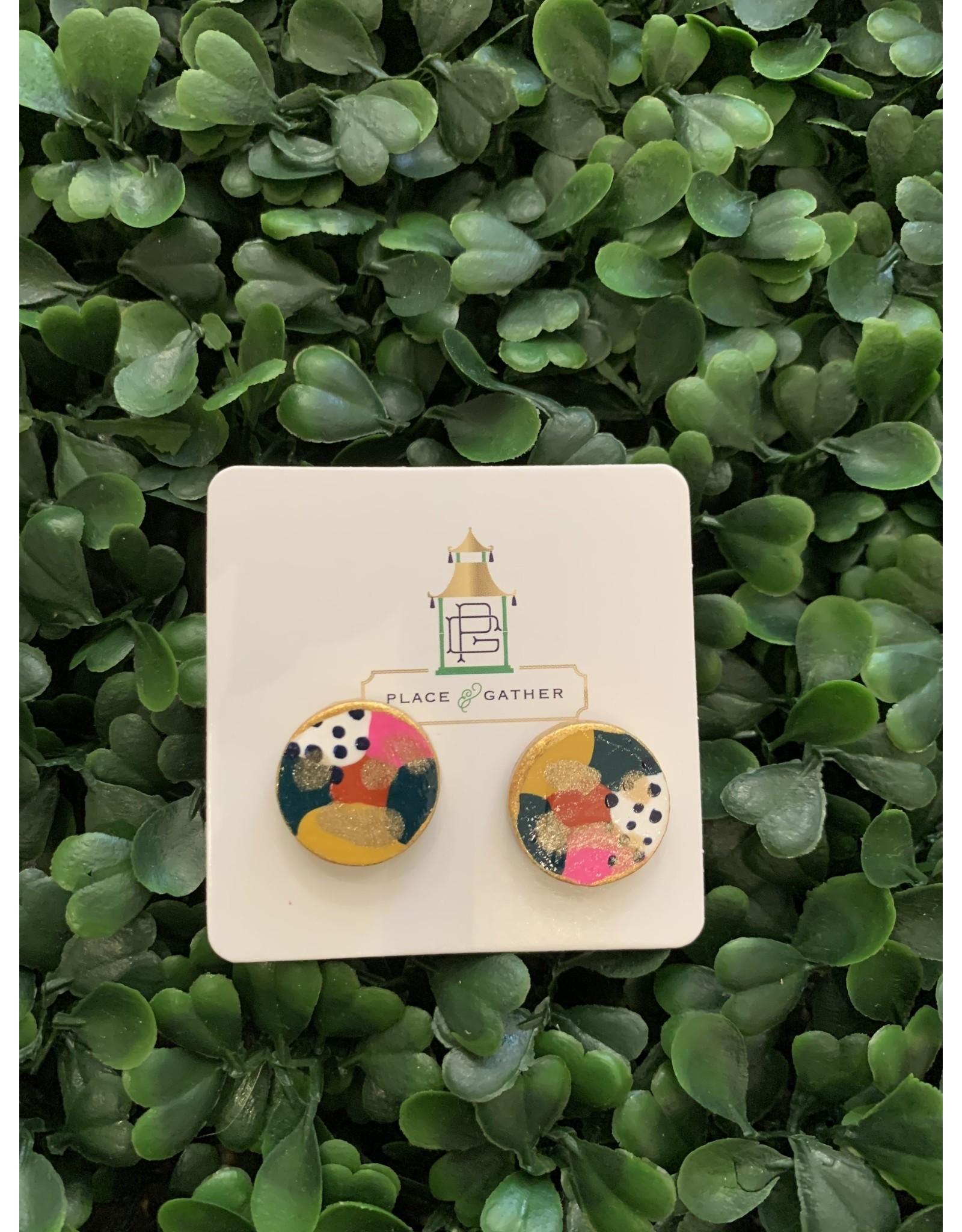 Musgrove & Main Handpainted Polka Dot & Glittered Stud