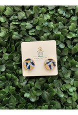 Musgrove & Main Handpainted Blue Pattern Stud