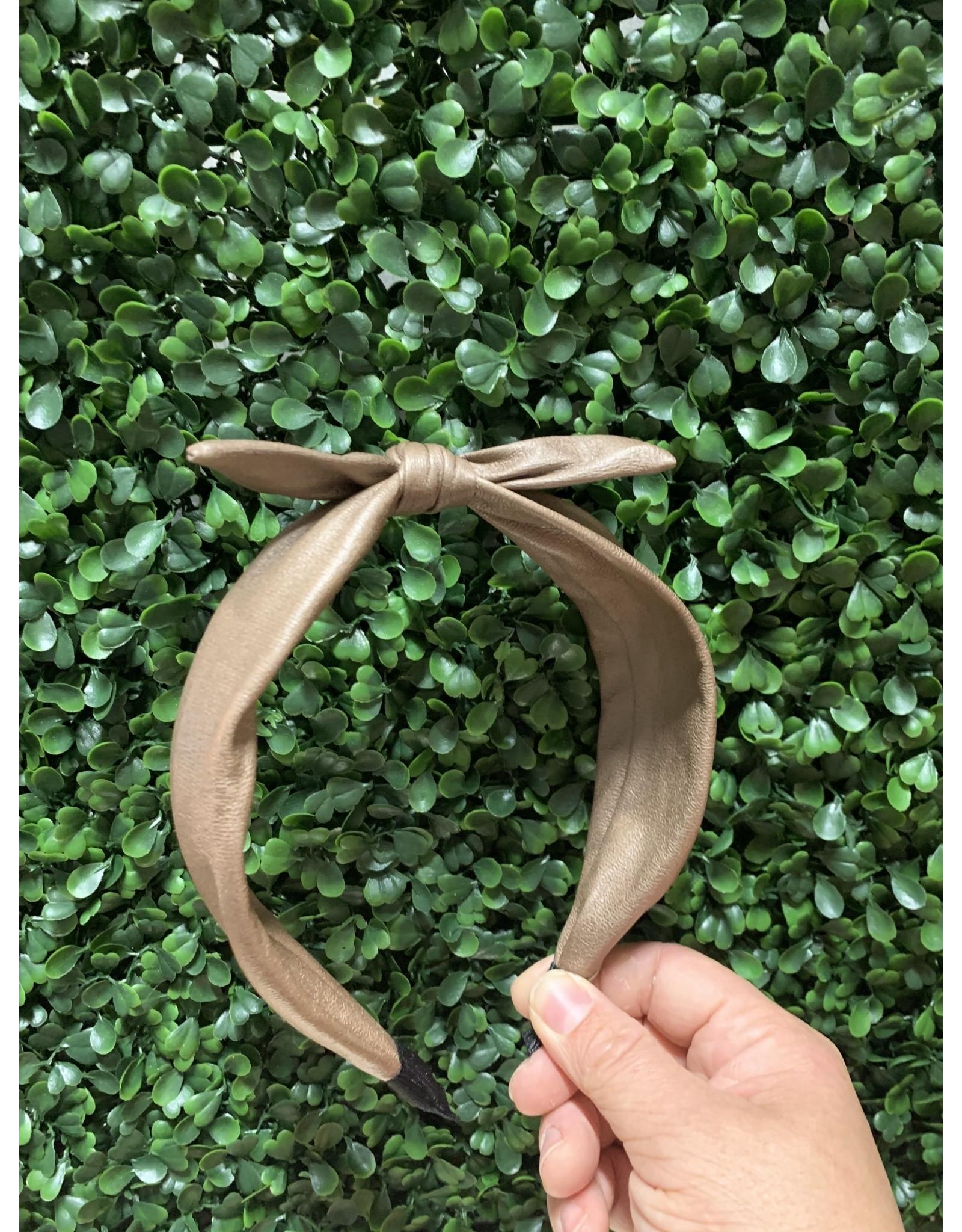 Tan Wired Bow Headband