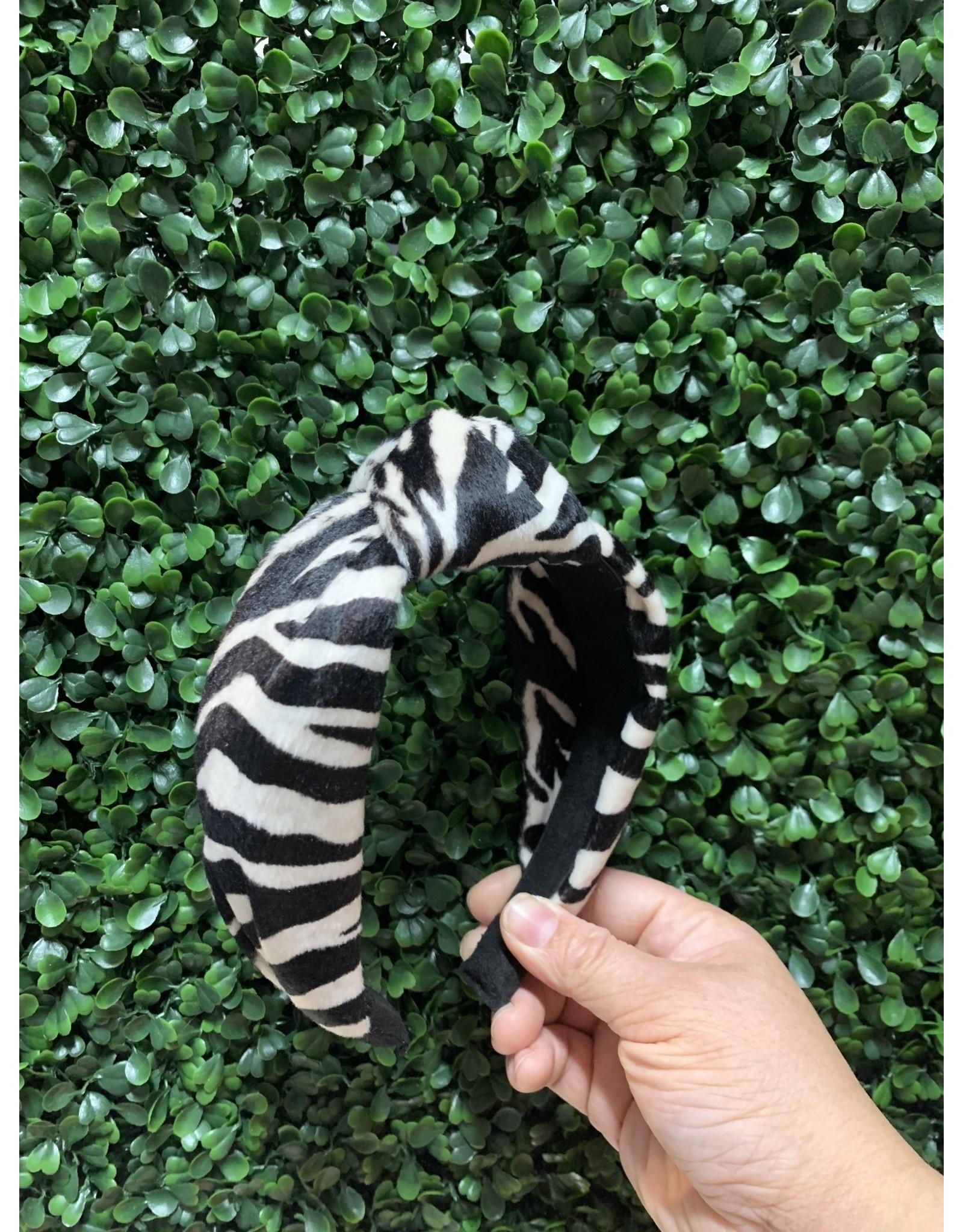 Zebra Velvet Knot Headband