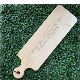 Maple Leaf at Home Longitude and Latitude with Charlestown 20x6 Handled Maple Bread Board