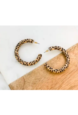 Prep Obsessed Wood Leopard Hoop Earrings