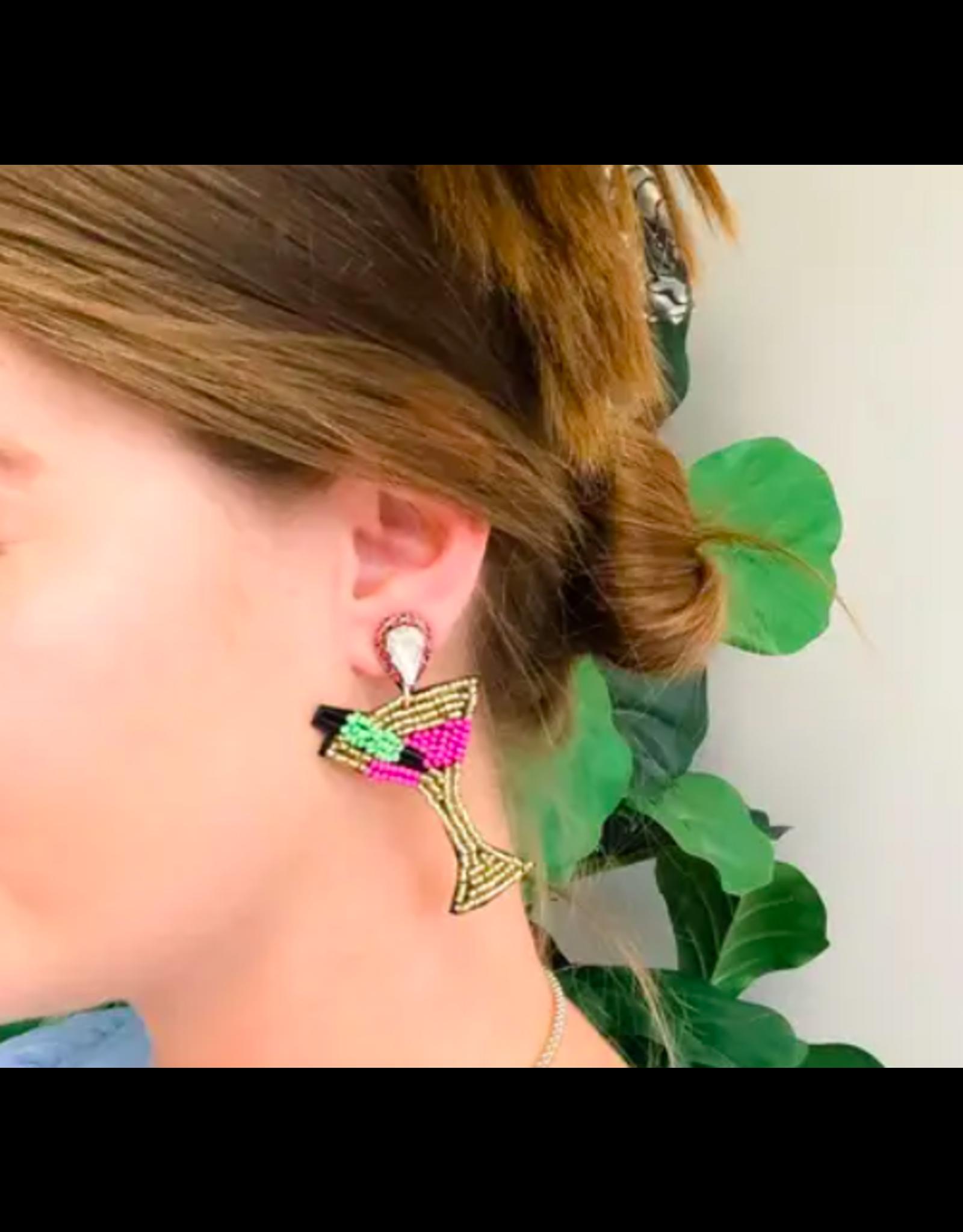 Prep Obsessed Martini Seed Bead Drop Earrings