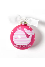 Coton Colors My First Christmas Pink Whale Ornament