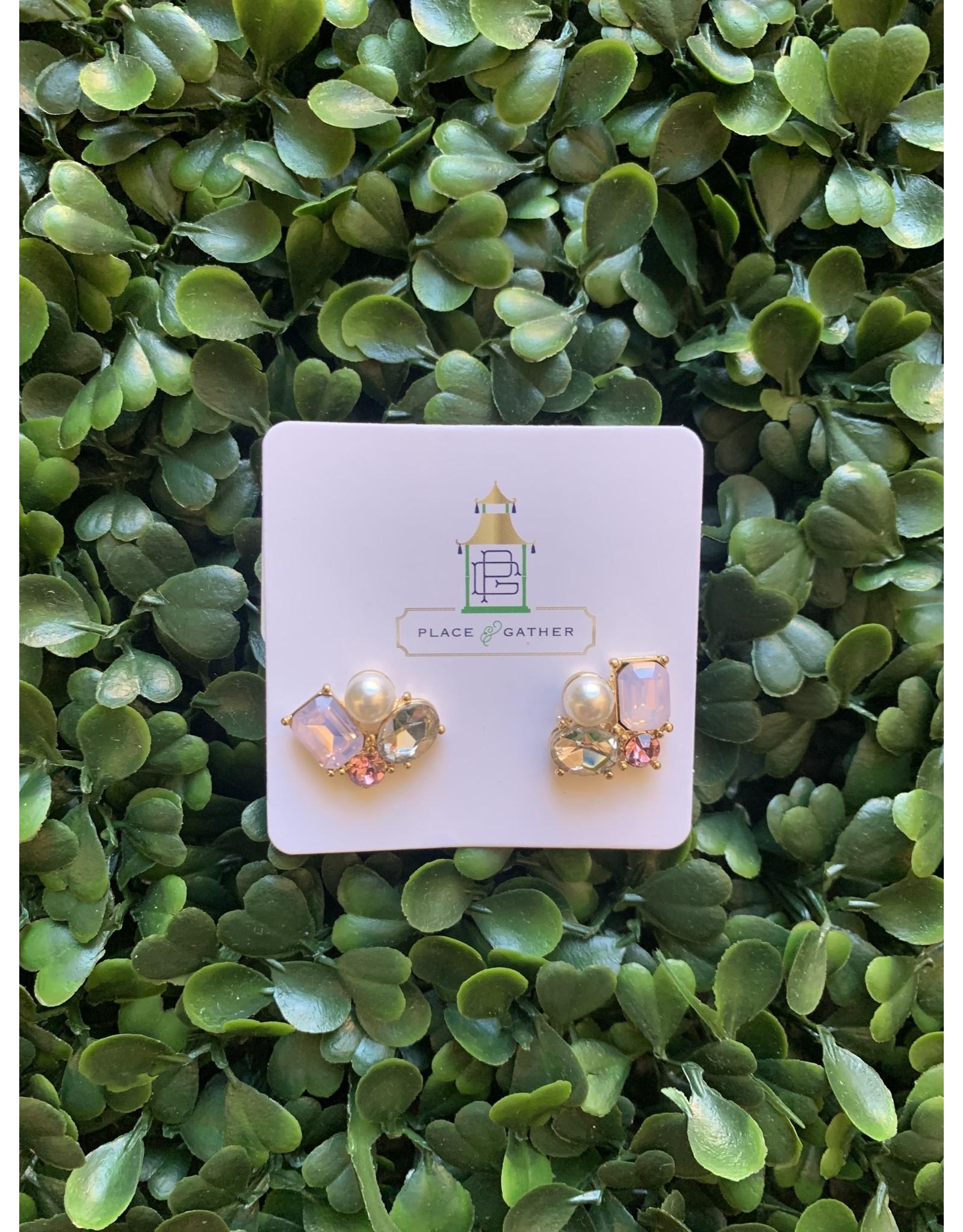 Prep Obsessed Jewel and Pearl Cluster Stud Earrings in Pink