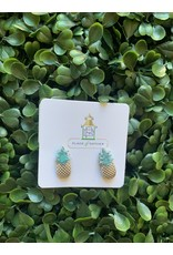 Prep Obsessed Pineapple Studs in Silver and Turquoise