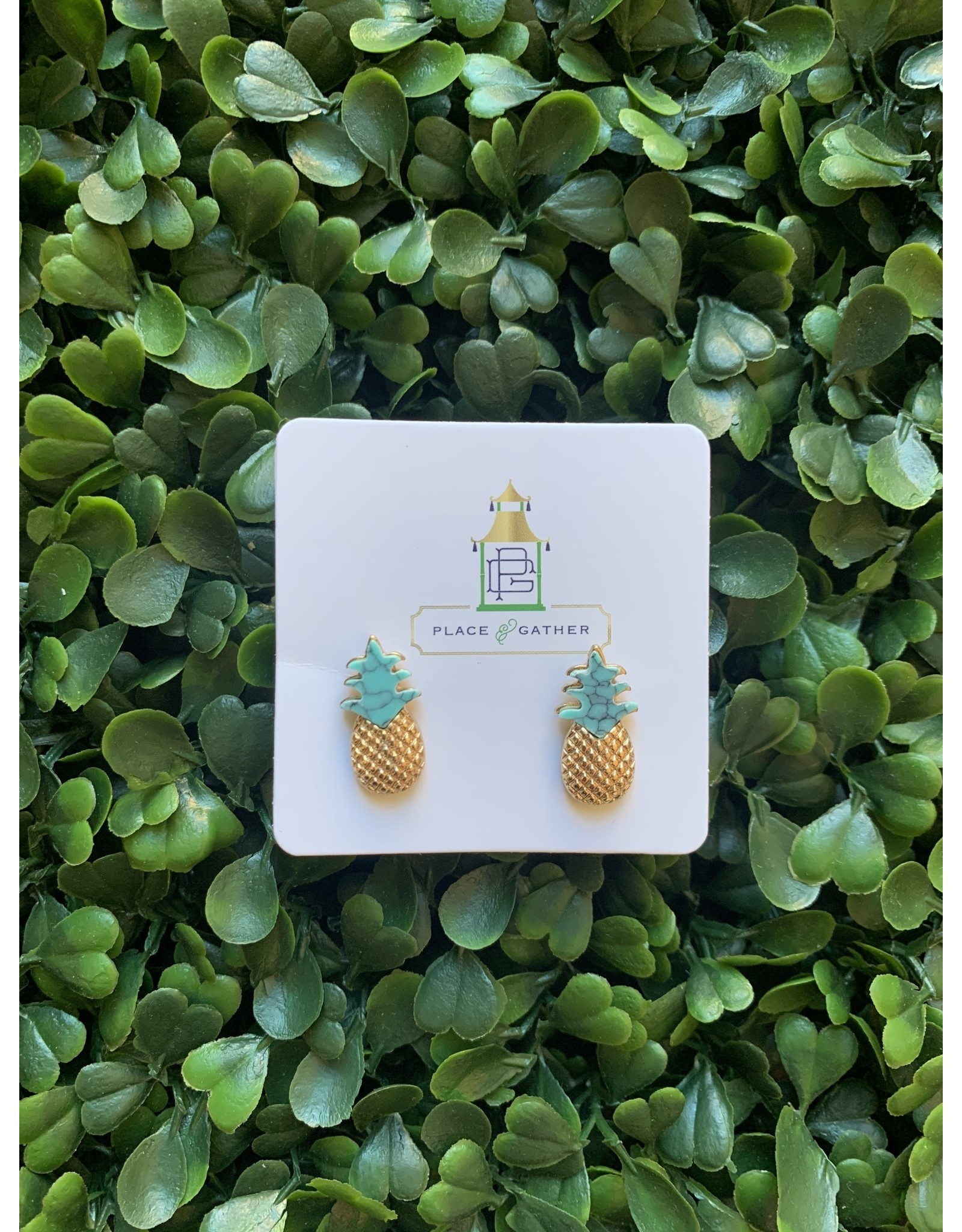 Prep Obsessed Pineapple Studs in Gold and Turquoise