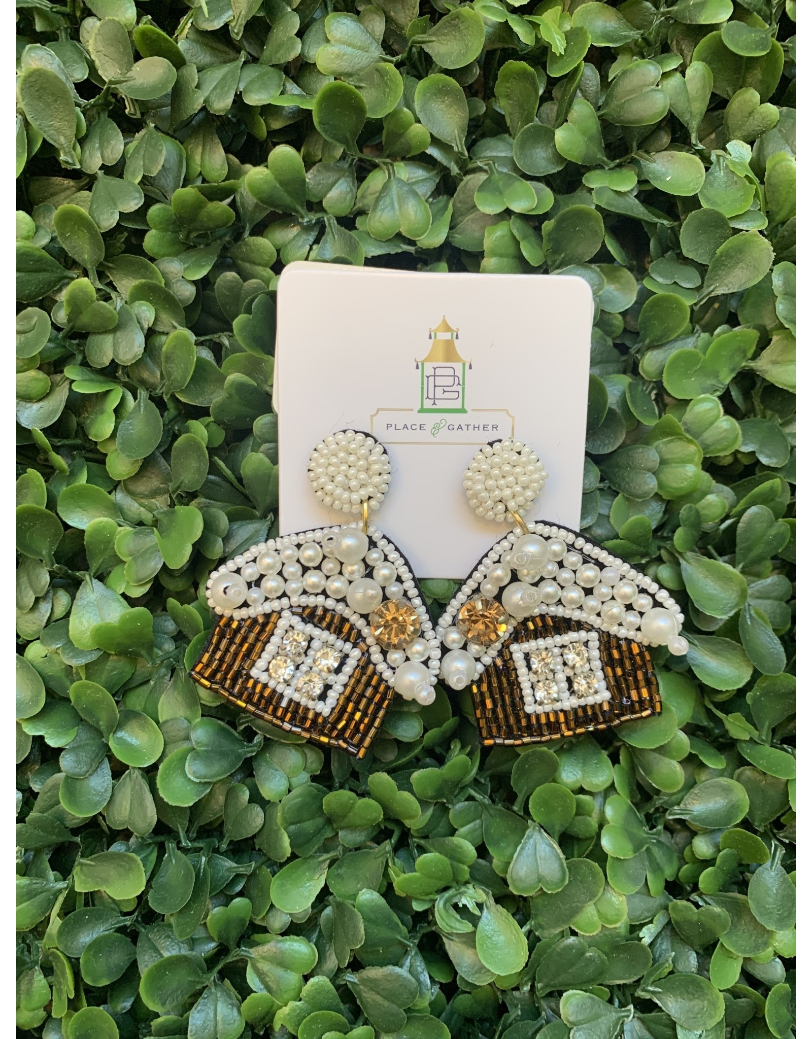 Prep Obsessed Beaded Gingerbread House Statement Earrings