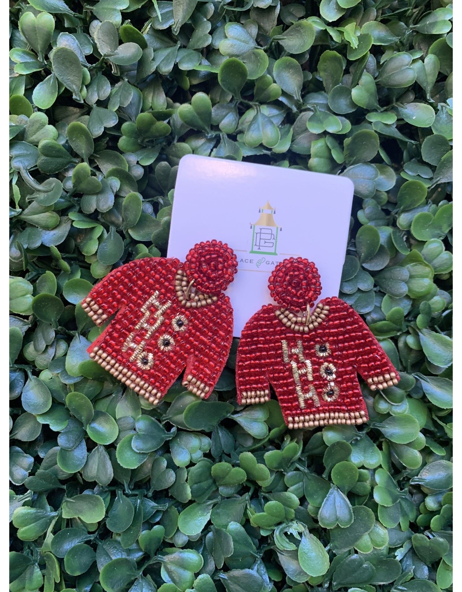 Prep Obsessed Beaded Christmas Sweater Statement Earring