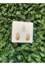Prep Obsessed Pineapple Studs in Gold and Marble