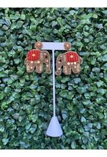 Prep Obsessed Beaded Glitzy Elephant Statement Earrings