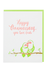 Smudge Ink Love Birds Anniversary Card
