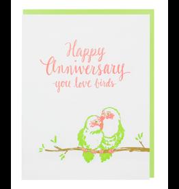 Smudge Ink Love Birds Anniversary Card