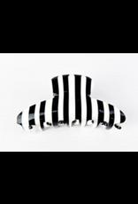 Black and White Stripe Hair Clip