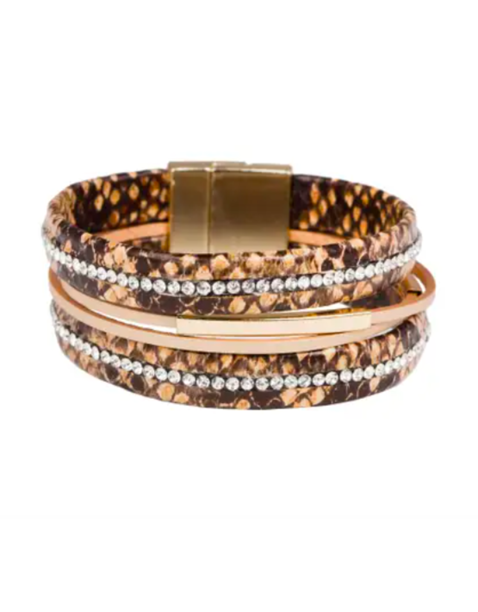 Saachi Snakeskin and Crystal Wrapped Bracelet