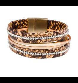 Saachi Snakeskin and Crystal Wrapped Bracelet
