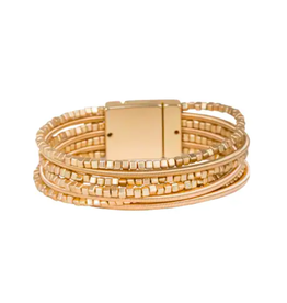 Saachi Gold Cube Wrapped Bracelet