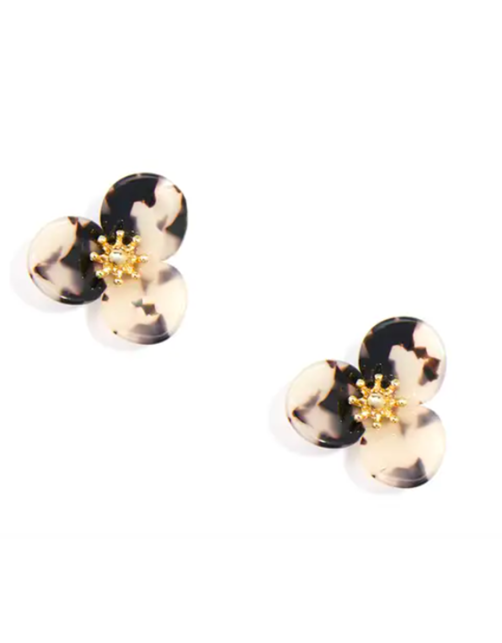 Zenzii Small Tortoise Flower Earring in Black and Tan