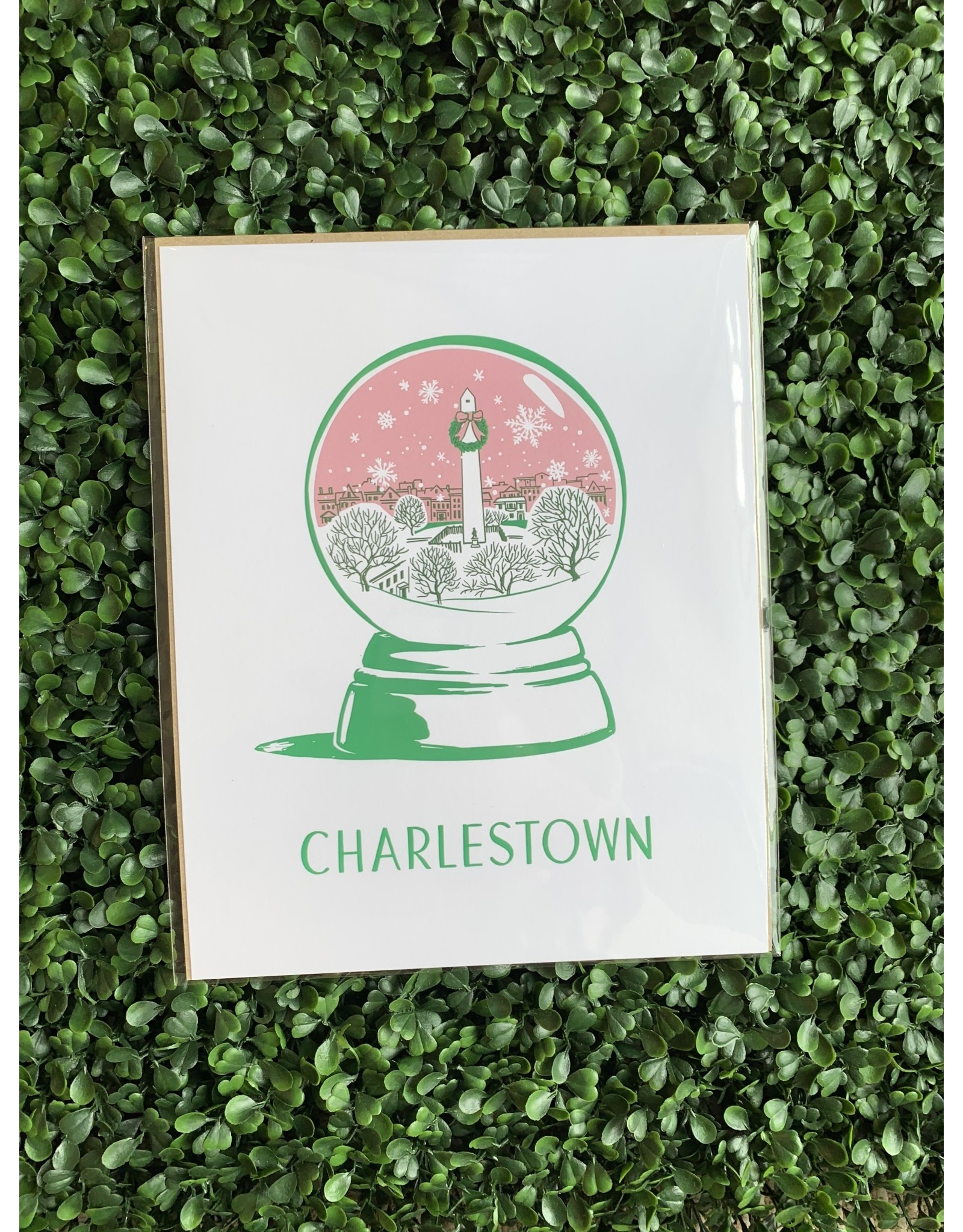 Smudge Ink Charlestown Snow Globe Holiday Print in 8x10