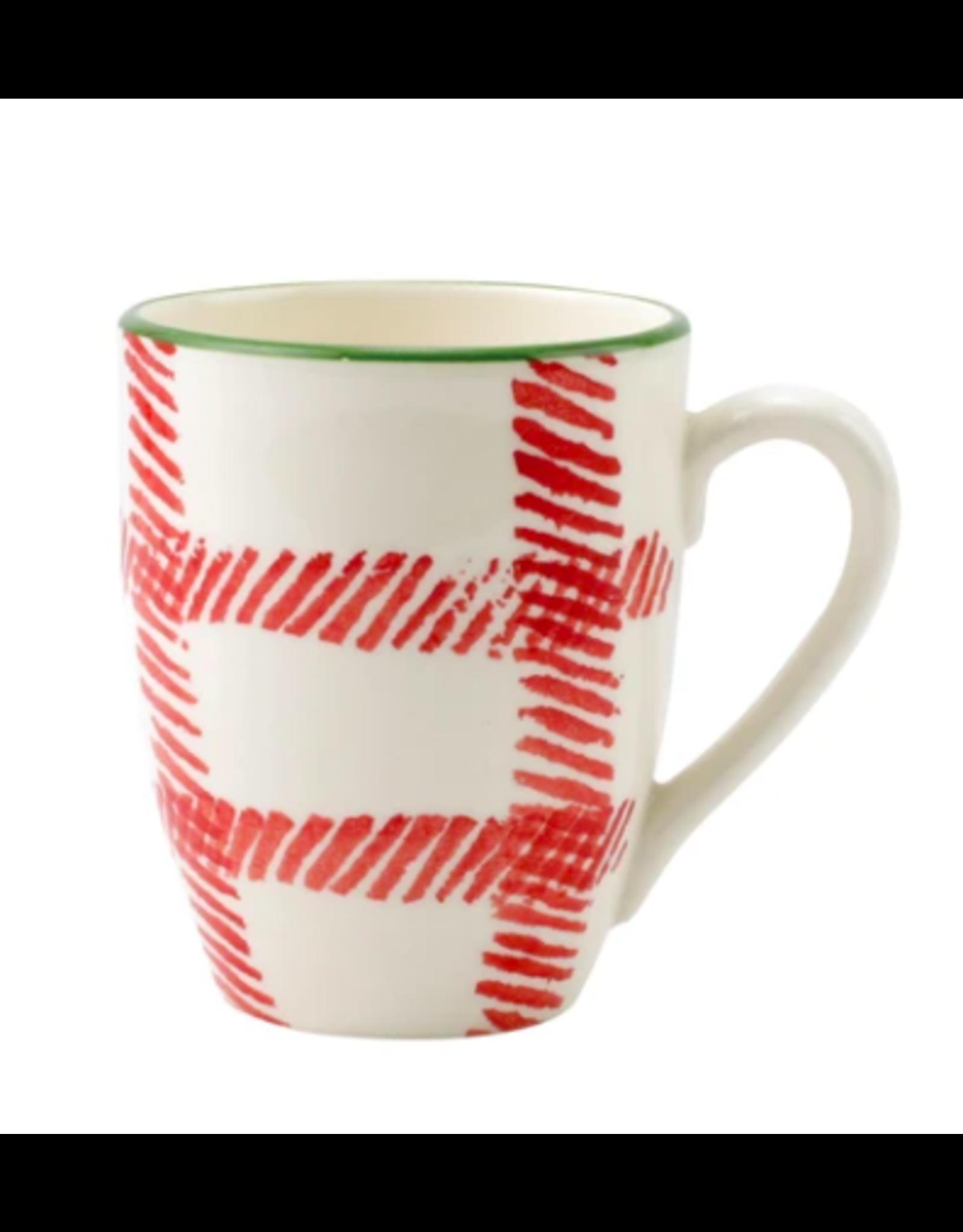 Vietri Mistletoe Plaid Mug