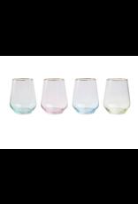 Vietri Assorted Rainbow Stemless Wine Glasses - Set of 4