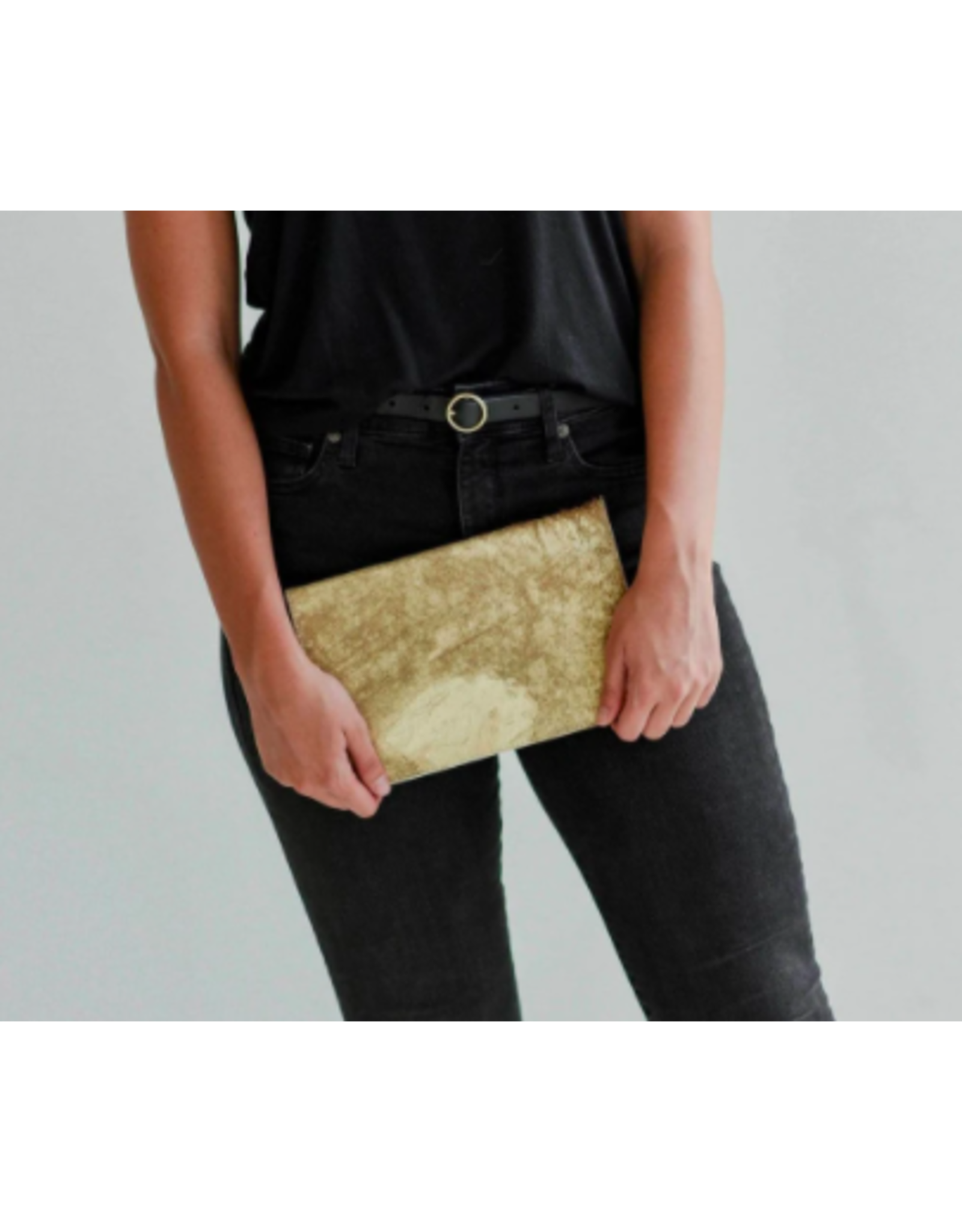 Mer Sea Gold Splash Cowhair Foldover Clutch