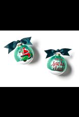 Coton Colors Here Comes Santa Claus Scooter Glass Ornament