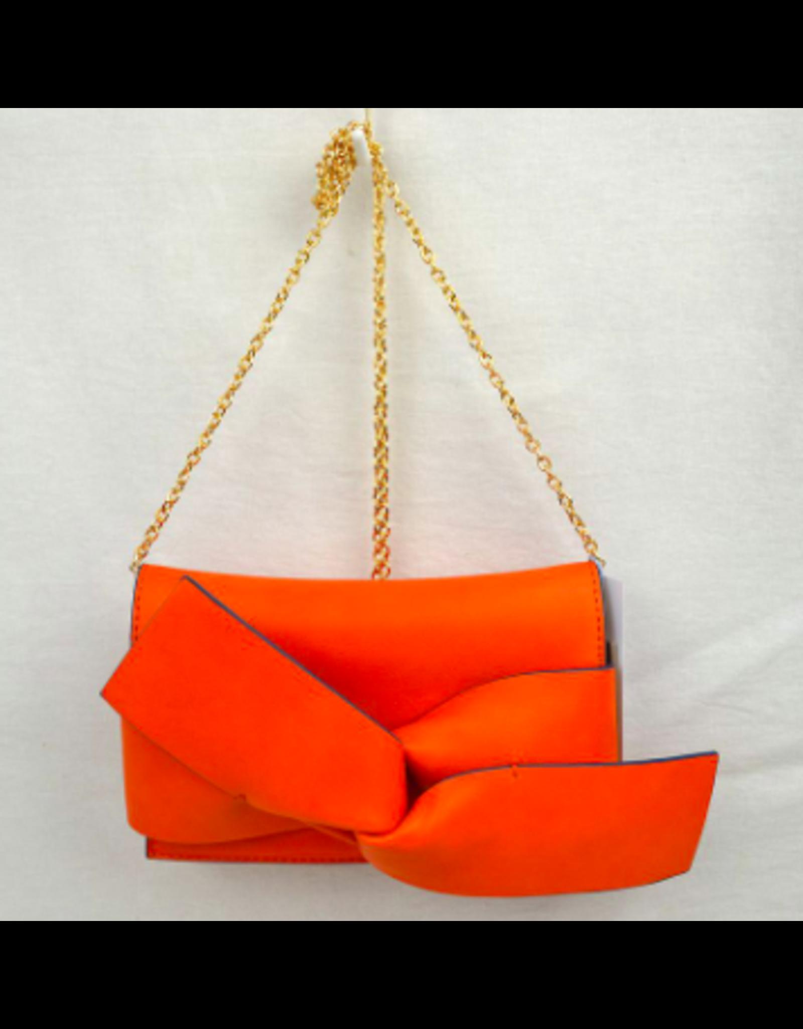 Bright Orange Bow Clutch