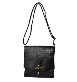 The Everyday Crossbody Large in Black Ostrich