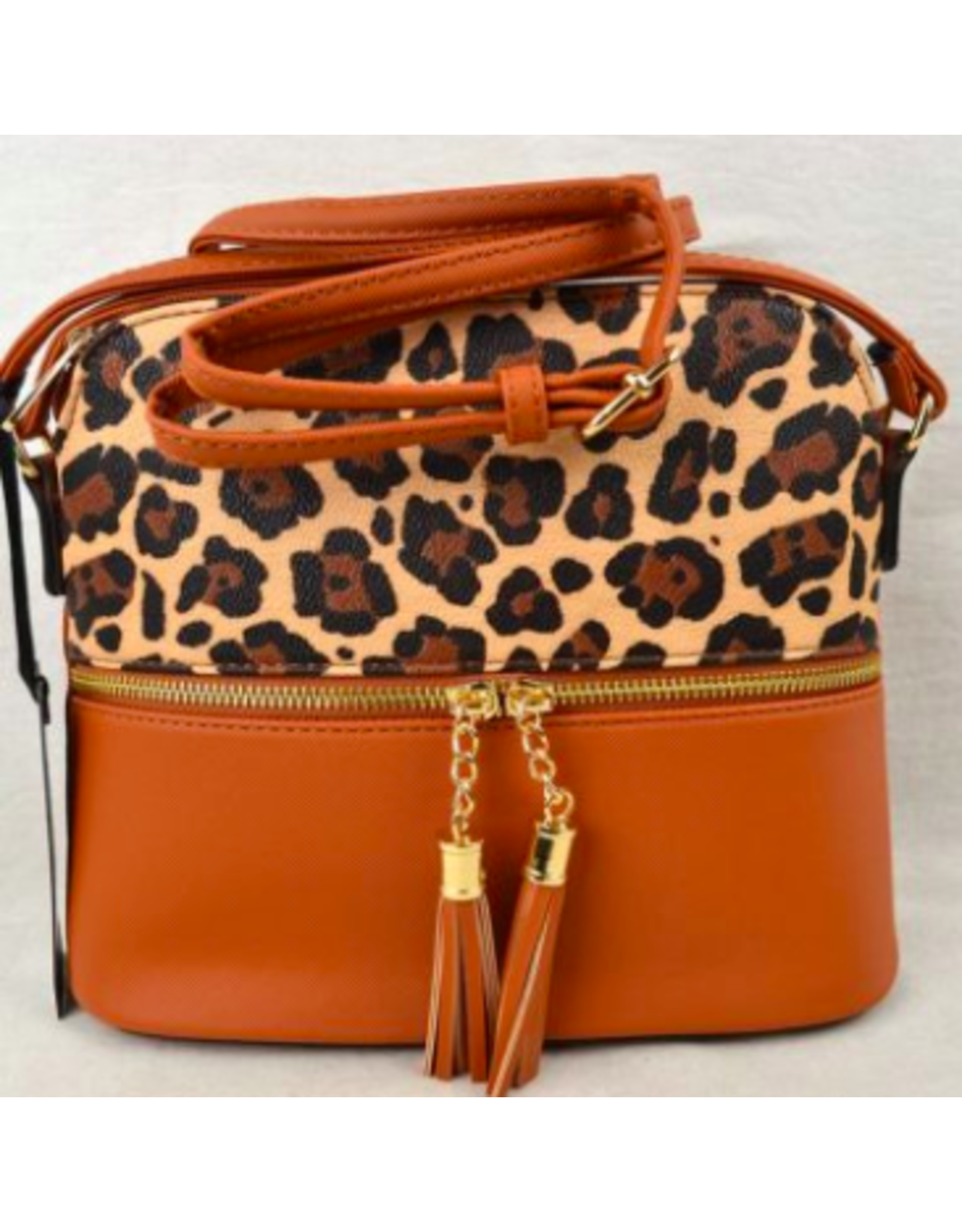 Accessories Shop by Place & Gather Pebbled Tassel Crossbody in Orange and Leopard Print