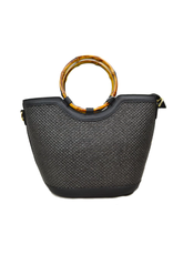 Black Straw Bamboo Handle Tote