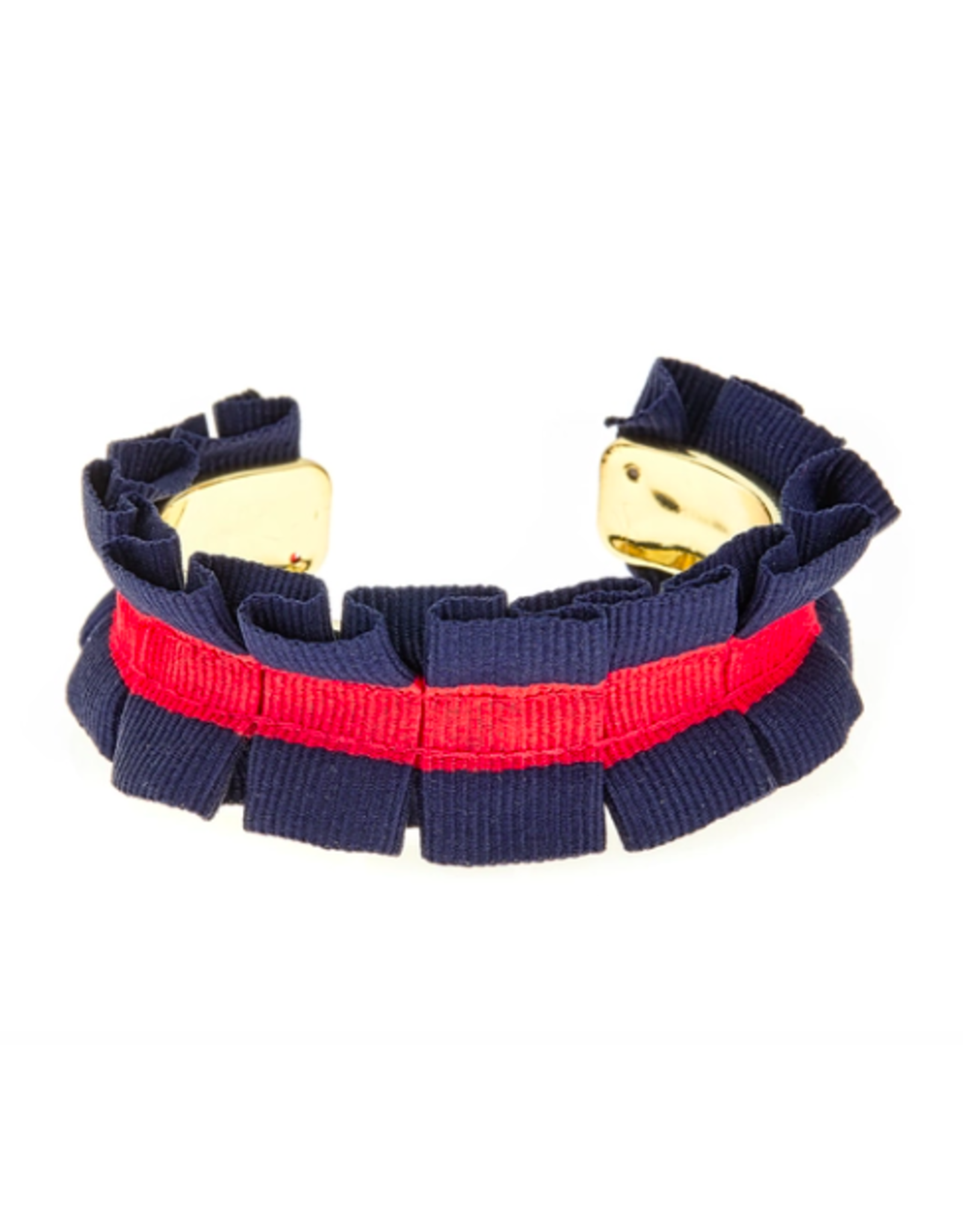 Fornash Ruffle Ribbon Cuff in Navy/Red