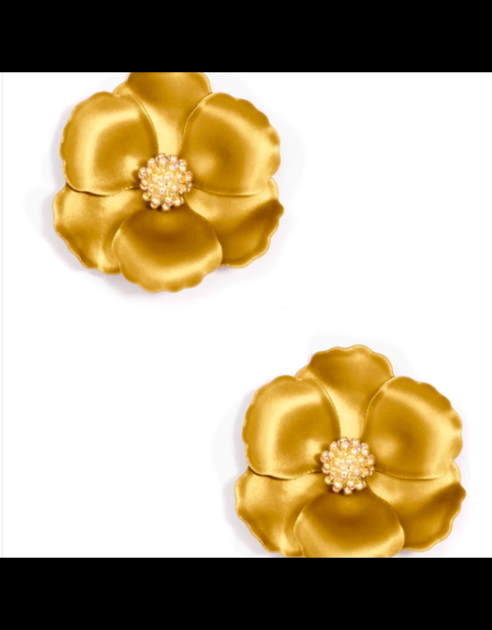 Zenzii Mini Metallic Camellia Earring in Gold