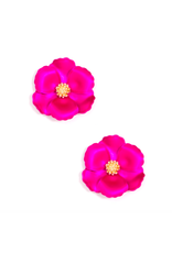 Zenzii Mini Metallic Camellia Earring in Hot Pink