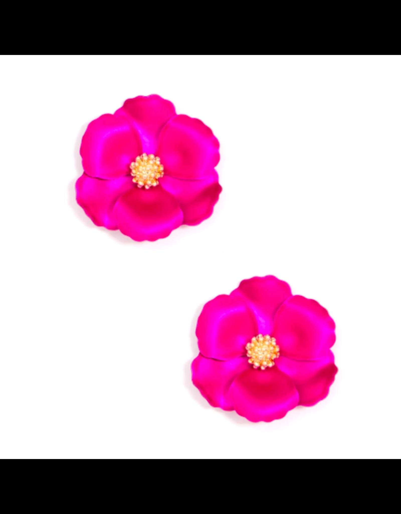 Zenzii Mini Metallic Camellia Earring in Hot Pink