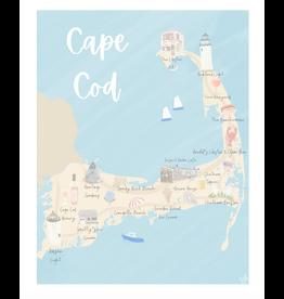 Palm Prints Co Cape Cod Map 8x10 Print by Palm Prints