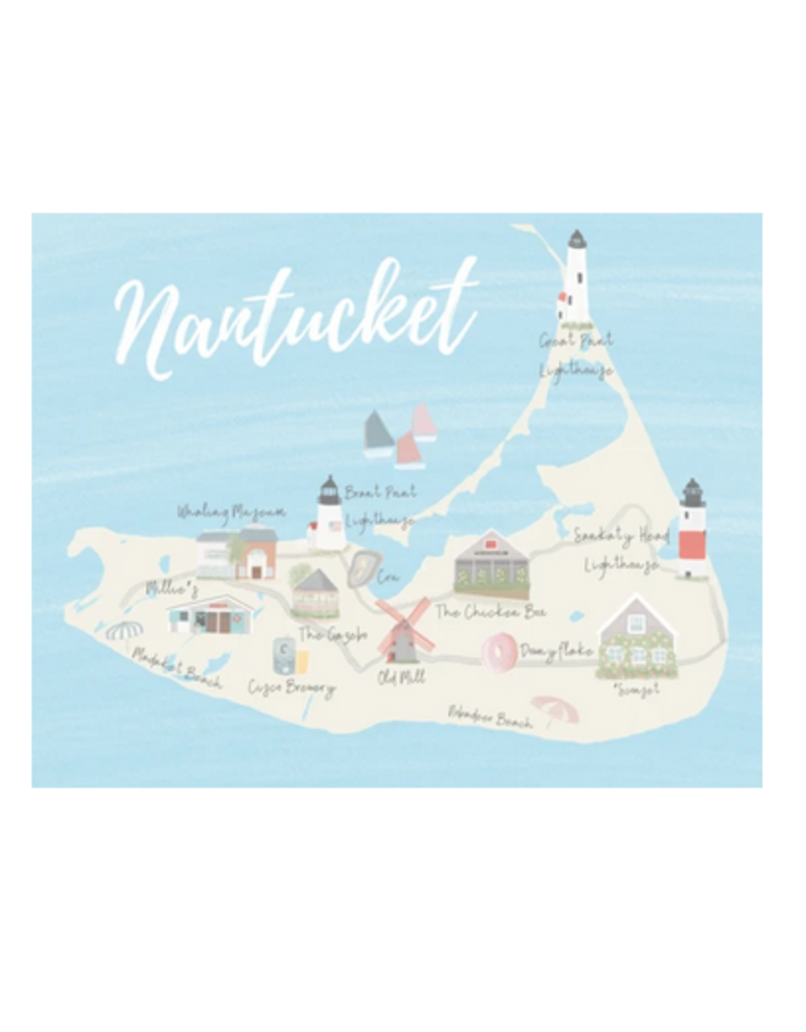 Palm Prints Co Nantucket Map 8x10 Print by Palm Prints
