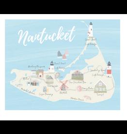 Palm Prints Co Nantucket Map 8x10 Print by Palm Prints