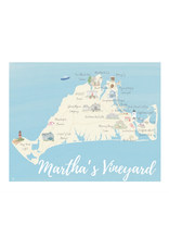 Palm Prints Co Martha's Vineyard Map 8x10 Print by Palm Prints