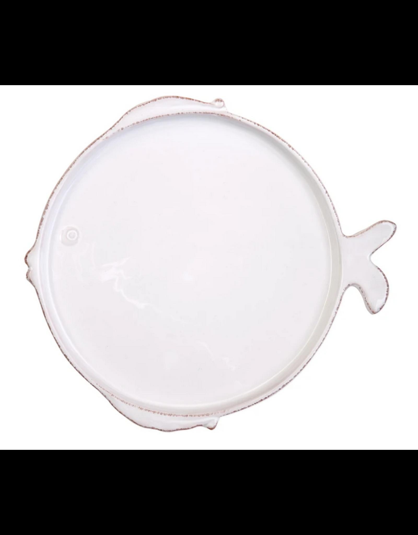 Vietri Melamine Lastra Fish Dinner Plate  in White