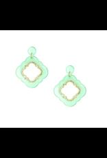 Zenzii Quatrefoil Glitter Drop Earring in Mint