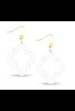 Zenzii Lattice Drop Earring in White