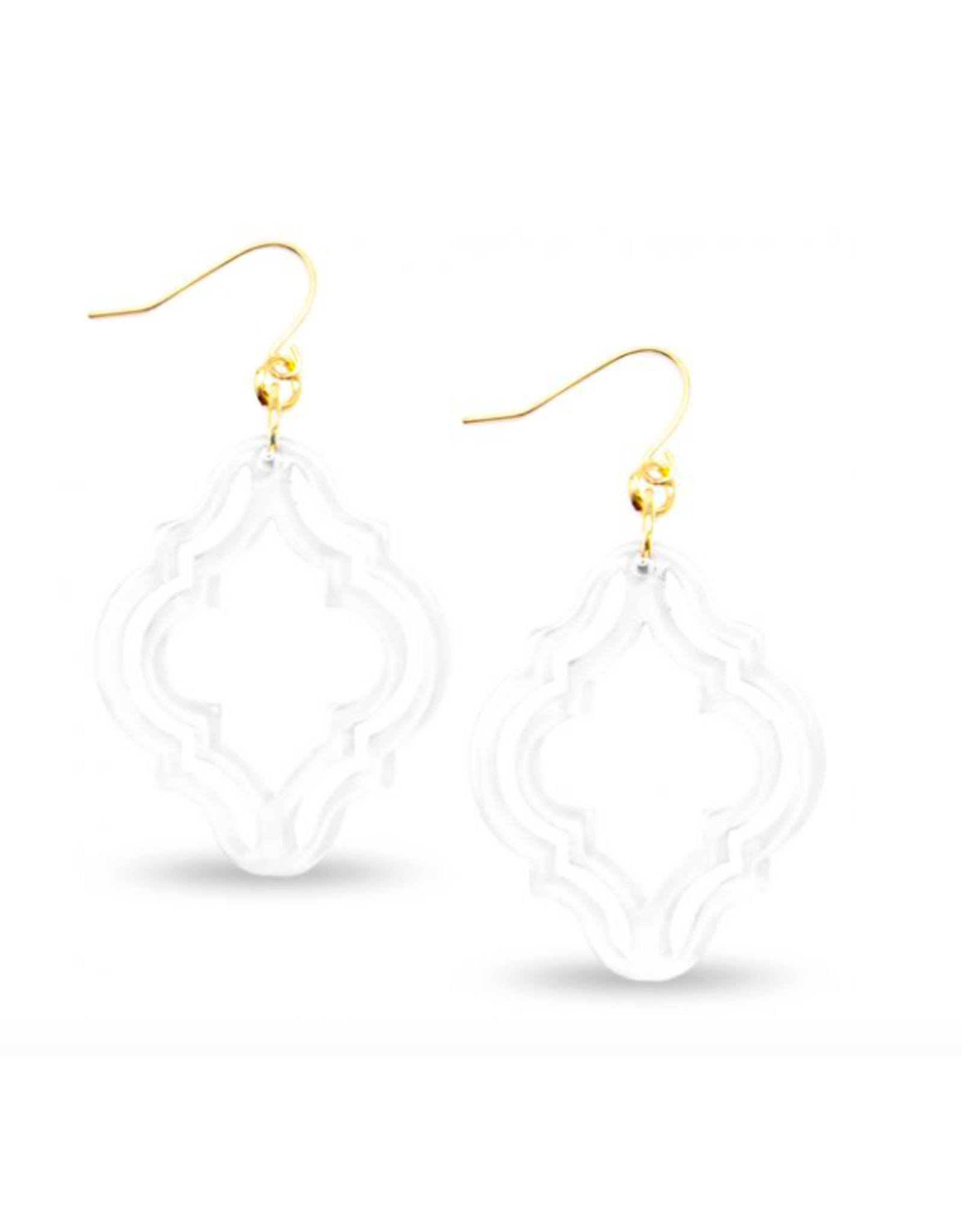 Zenzii Lattice Drop Earring in White