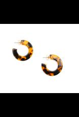 Zenzii Flat Tortoise Hoop Earrings in Black/Brown