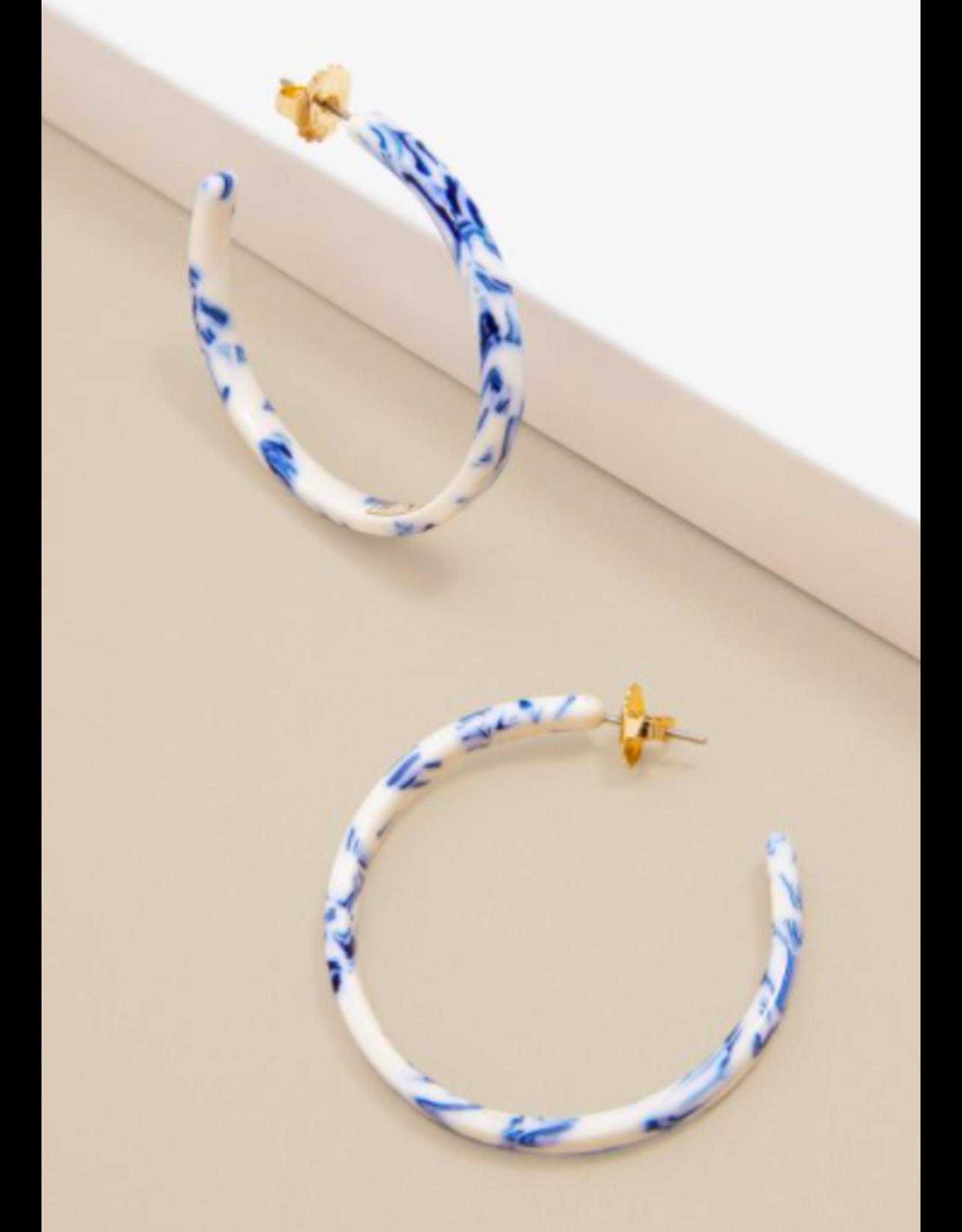 Zenzii Blue Marbled Hoop Earring
